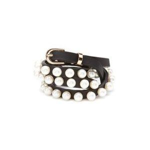 Accessories - Black Skinny Faux Pearl Belt